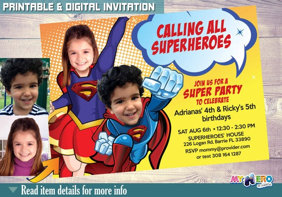 Superman Supergirl Joint Birthday Superheroes Party Invitations Invitation Siblings 117