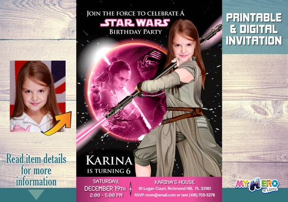 Star Wars Pink And Black Party Ideas Birthday Invitation Your Girl As A Jedi Rey 010