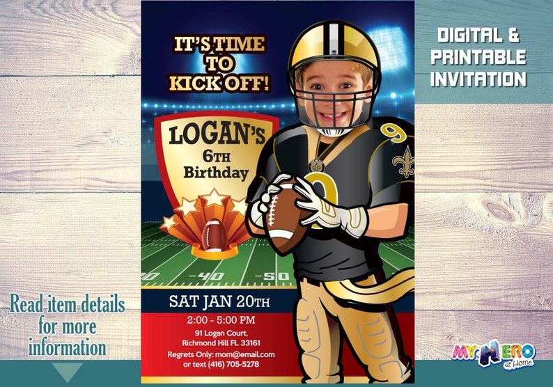 New Orleans Saints Football Birthday Invitations