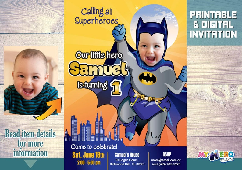 Batman 1st Birthday Invitation Turn Your Little Boy Into A