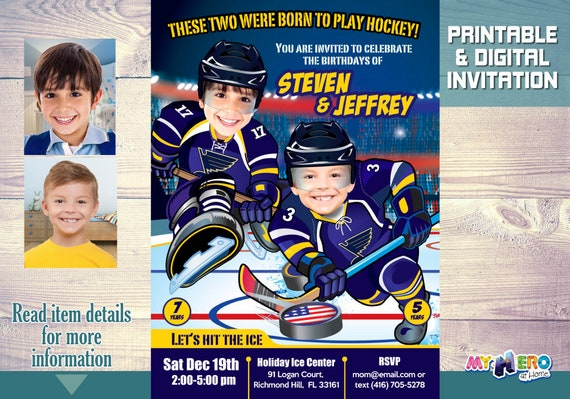 St Louis Blues Siblings Birthday Invitations Hockey Invitation For Brothers Joint Party Ideas 2 310