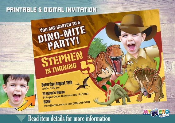 Dinosaur Birthday Party Your Child In His Own Dino Mite Invitation