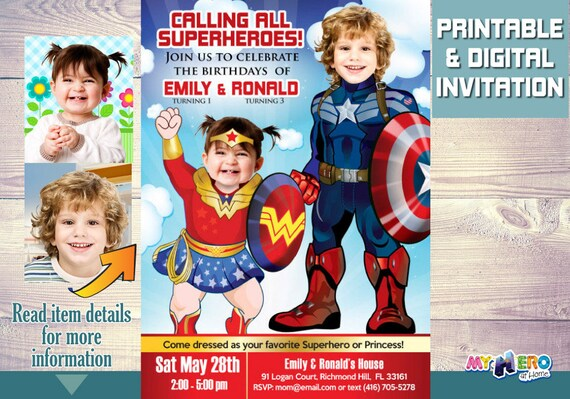 Superheroes Birthday Invitation Baby Wonder Woman And Captain America Siblings Invite Joint Party 081