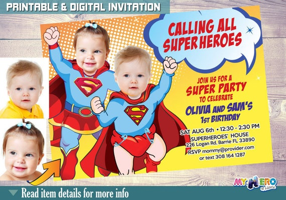 Super Babies 1st Birthday Invitations Twins