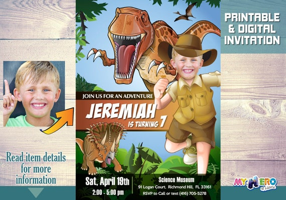 Dinosaurs Birthday Party Invitation Explorer Jurassic World Ideas T Rex 208