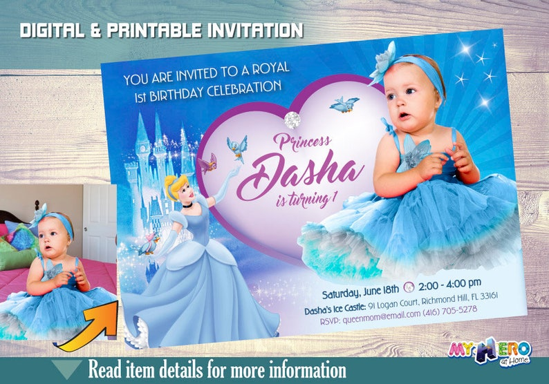Cinderella 1st Birthday Invitation With Your Baby Princess As