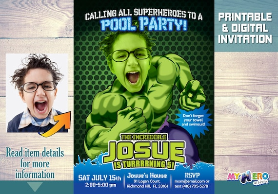 Pool Party Hulk Birthday Invitation The Incredible