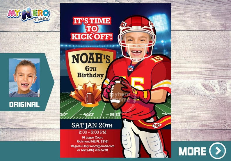 Kansas City Chiefs Birthday Invitation American Football