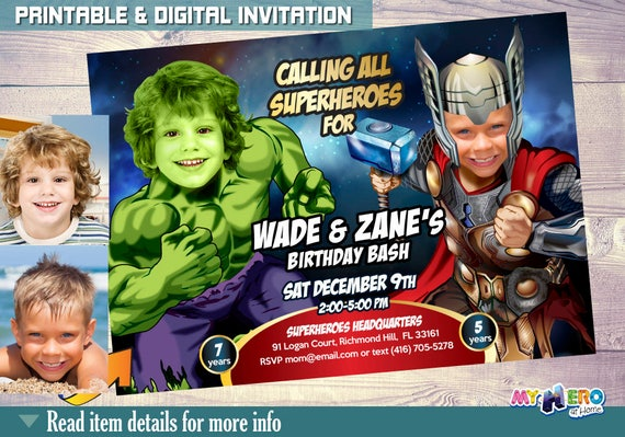 Thor and hulk birthday party invitations thor and hulk birthday il570xn filmwisefo