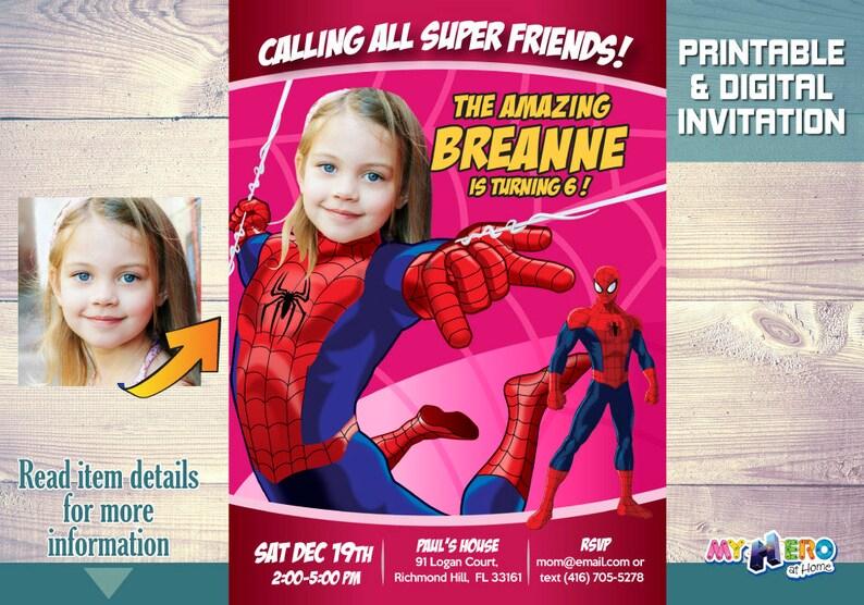 Spidergirl Birthday Invitation Your Girl As