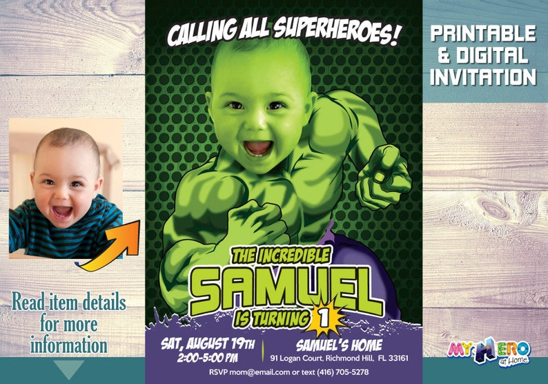 Hulk 1st Birthday Invitation Turn Your Baby Into The