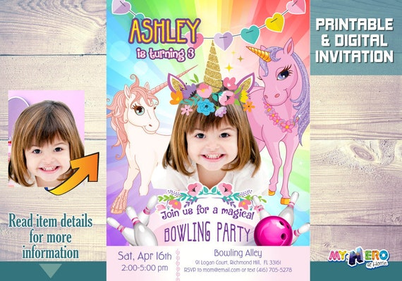 unicorn bowling birthday invitations your little girl as the star