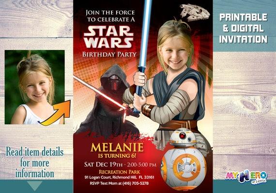 Star Wars Birthday Invitation For Girls Jedi Rey