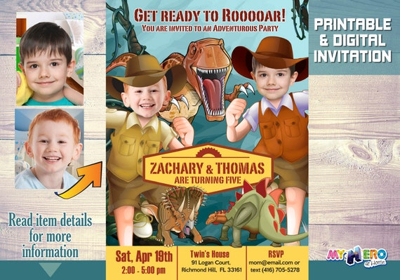 Dinosaurs Siblings Birthday Invitation Party Explorers Joint Ideas 211
