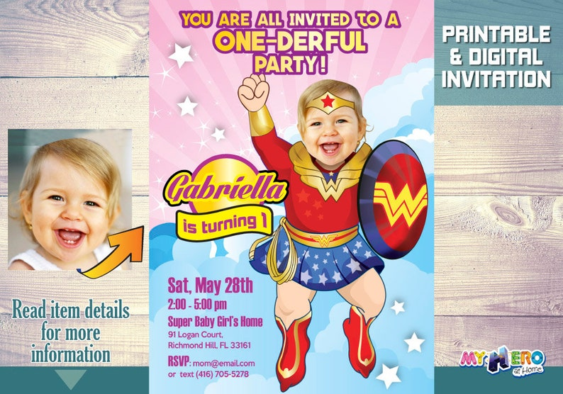Wonder Baby Girl 1st Birthday Invitation Superhero Party