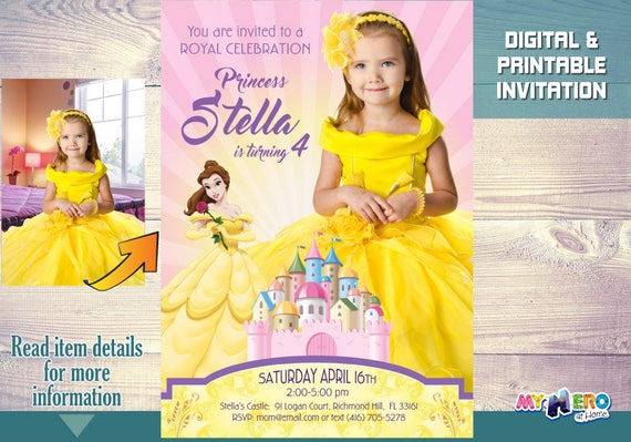 Princess belle birthday invitation with your girl as the etsy image 0 filmwisefo