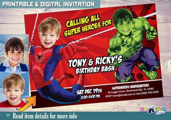 Spiderman And Hulk Birthday Invitations Superheroes Brothers Invitation Super Siblings Party Ideas 093