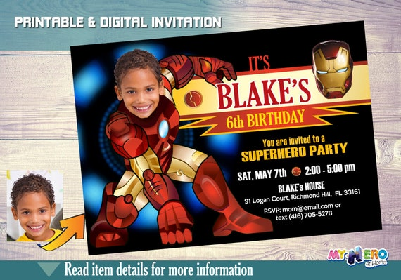 Ironman Birthday Invitation Your Boy As Iron Man In His Etsy