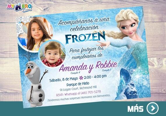 Invitación Frozen Para Hermanos Fiesta Tema Frozen Para 2 Niños Cumpleaños Tema Frozen Para Hermanos Invitación Frozen Con Fotos 282sp