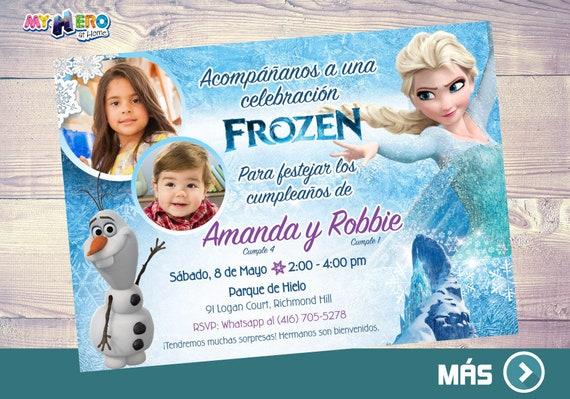 Invitación Frozen Para Hermanos Fiesta Tema Frozen Para 2