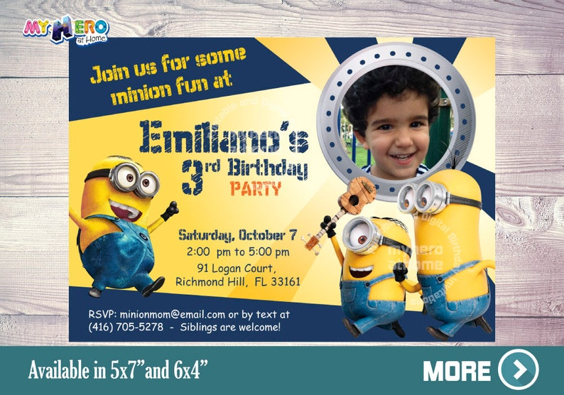 Minions Birthday Invitation Customized With Your Sons Photo