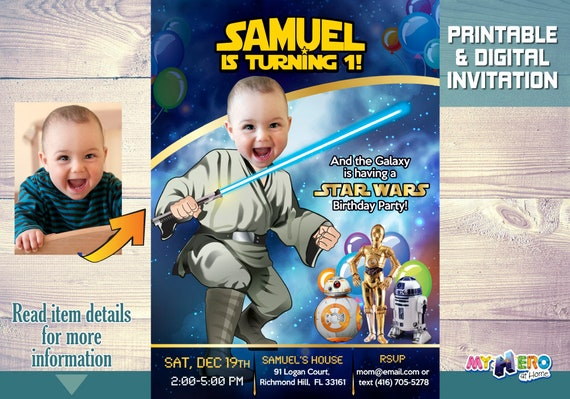Star Wars 1st Birthday Invitation Turn Your Baby Boy Into A Young Jedi First 017