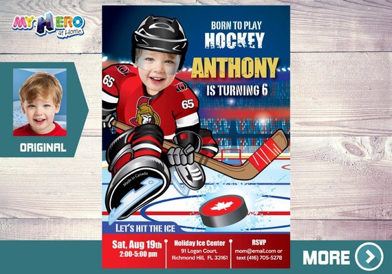 Ottawa Senators Birthday Invitation Party Ideas Hockey Player Uniform 333