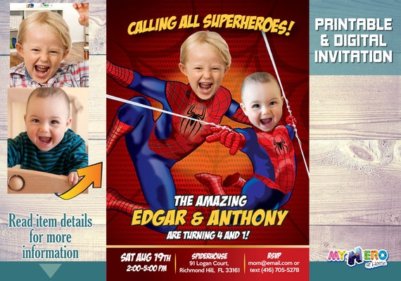 Spiderman Siblings Birthday Invitation Brothers Invitations Joint 106