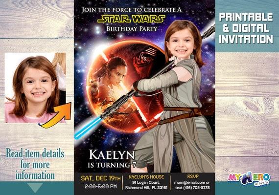 Star Wars Birthday Invitation For Girls Party Ideas Jedi Rey Invitations 008
