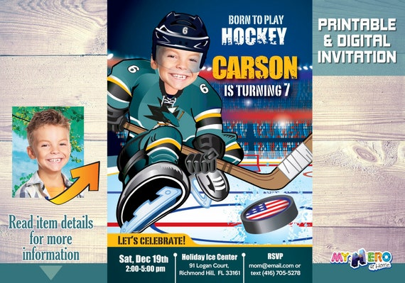 San Jose Sharks Birthday Invitation Make Your Kid The Best Player Of His Favorite Team Hockey Party Ideas 330