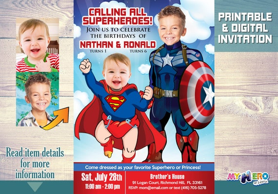 joint superheroes birthday invitation captain america and baby