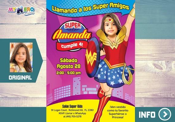 Mujer Maravilla Invitación De Cumpleaños Fiesta Tema Mujer Maravilla Ideas Cumple Wonder Woman Wonder Woman Invitación 127sp