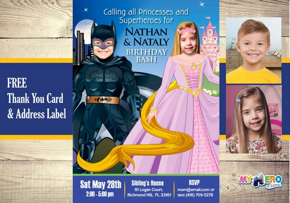 batman and princess rapunzel birthday invitations joint birthday