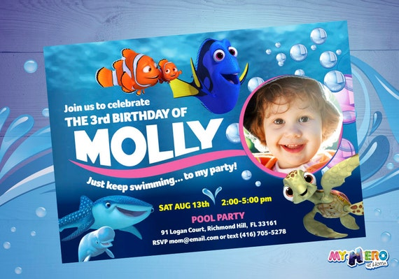 Finding Dory Birthday Invitation Customize It With The