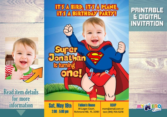 Baby Superman Birthday Party Invitations Turn Your Baby Into Etsy