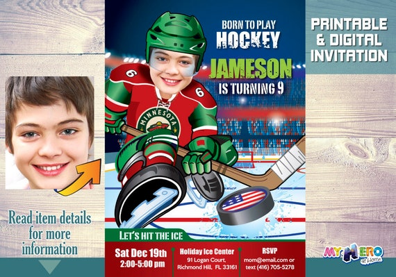 Minnesota Wild Party Birthday Invitations Ice Hockey Ideas 319
