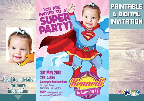 Supergirl 1st Birthday Invitations Turn Your Baby Into A Beautiful