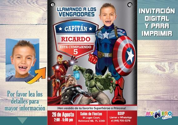 Capitán América Invitación De Cumpleaños Convierta A Su Niño En El Capitán América Cumpleaños Vengadores Ideas 077sp