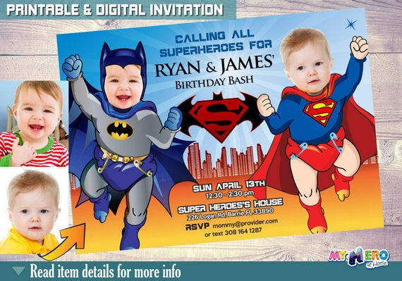 Super Babies Birthday Invitations Baby Superman Vs