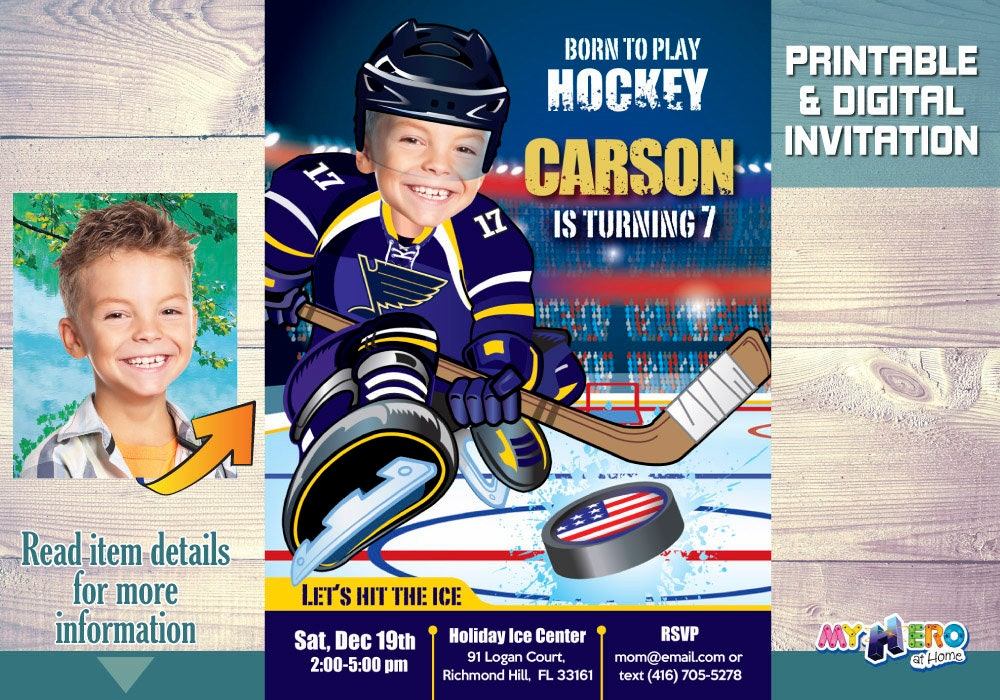 St Louis Blues Invitation Birthday Hockey