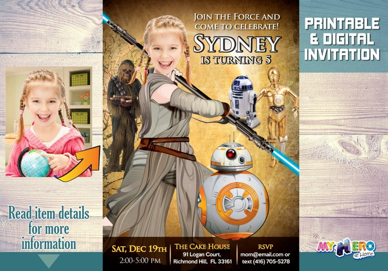 Star Wars Birthday Invitation For Girls Jedi Rey