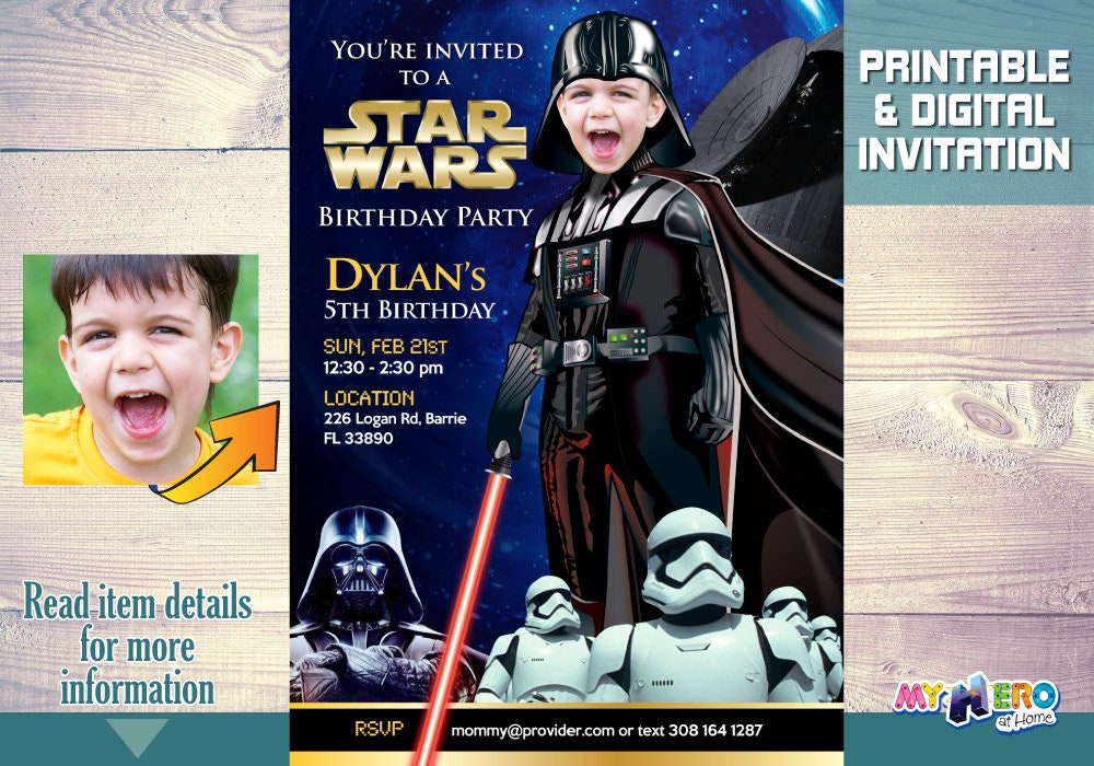 Darth Vader Birthday Invitation Turn Your Little One Into