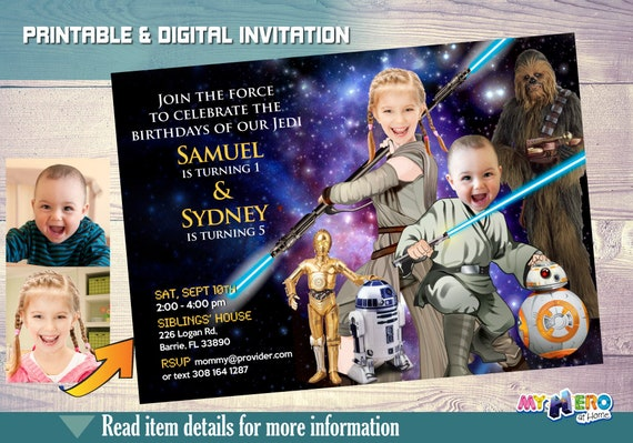 Star Wars Siblings Birthday Invitation Turn Your Children Into A