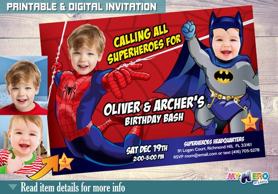 Joint Superheroes Birthday Baby Batman Spiderman Invitations Invitation Brothers Party 107