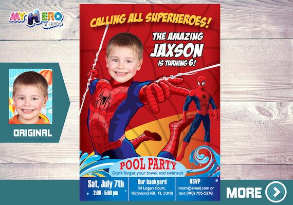 Invitación De Spiderman Con Su Niño Como El Hombre Araña Invitación De Cumpleaños Spiderman El Increible Hombre Araña Fiesta Spiderman