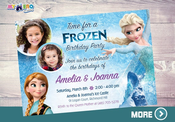 Invitación Frozen Para Hermanas Primas 2 Niñas Fiesta Frozen Elsa Anna Y Sus Niñas Celebrando Cumpleaños Frozen 2 Fotos De Niñas