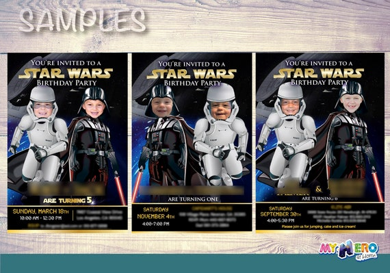 037B Turn your babies into Darth Vader and a Stormtrooper Star Wars Baby Twins Birthday Invitation Star Wars First Birthday Party Ideas
