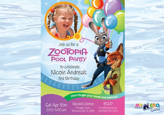 Zootopia Pool Party Birthday Invitation For Girls Customize It With