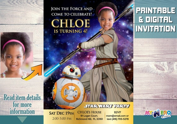 Star Wars Birthday Invitation For Girls Your Girl As Jedi Rey