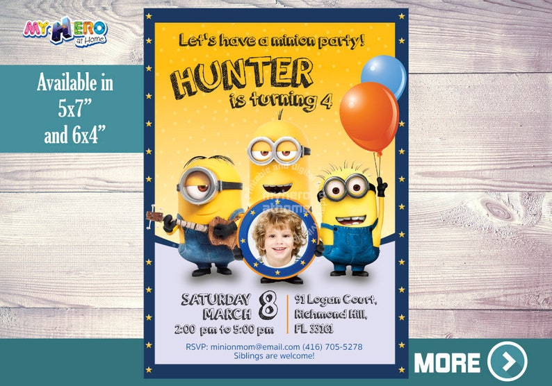 Minions Birthday Invitations Customize It With The Photo Of